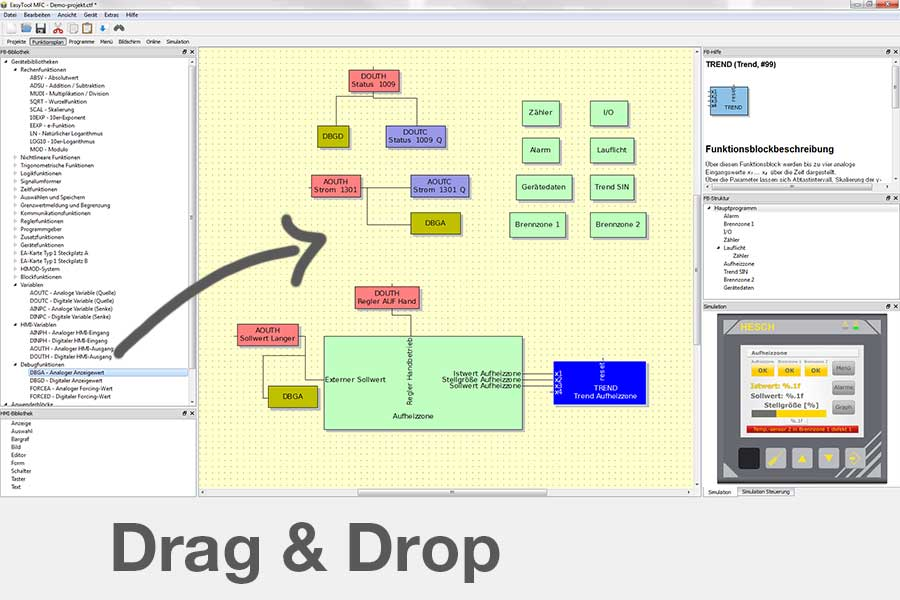Software EasyToolMFC-Multifunktionscontroller-einfach per Drag & Drop konfigurieren