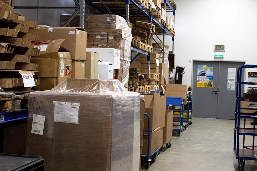High racks in the warehouse at HESCH