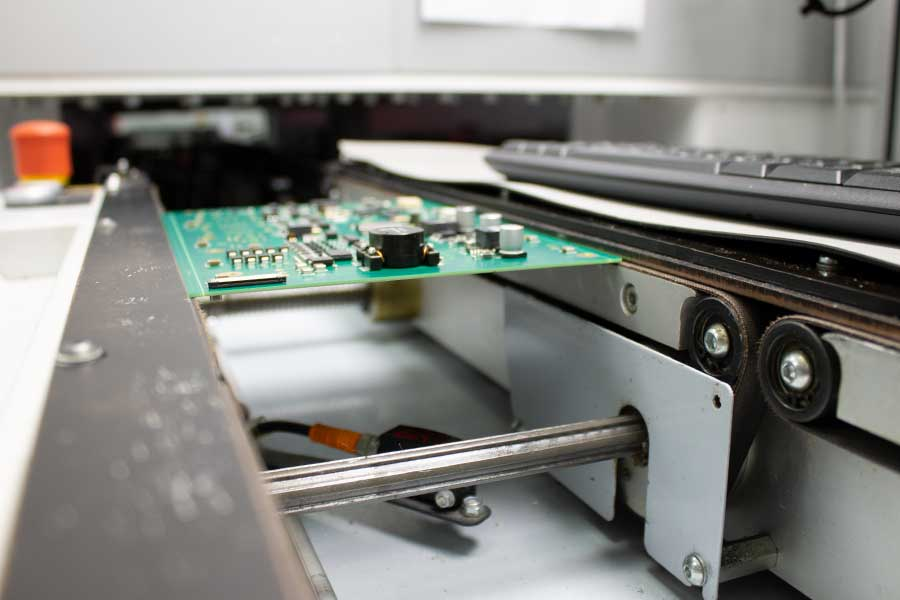 Printed circuit boards in production with the most modern SMD line